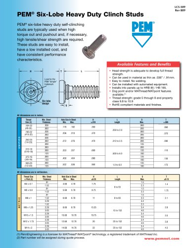 pem six lobe heavy duty clinch studs penn engineering pdf rh pdf directindustry com