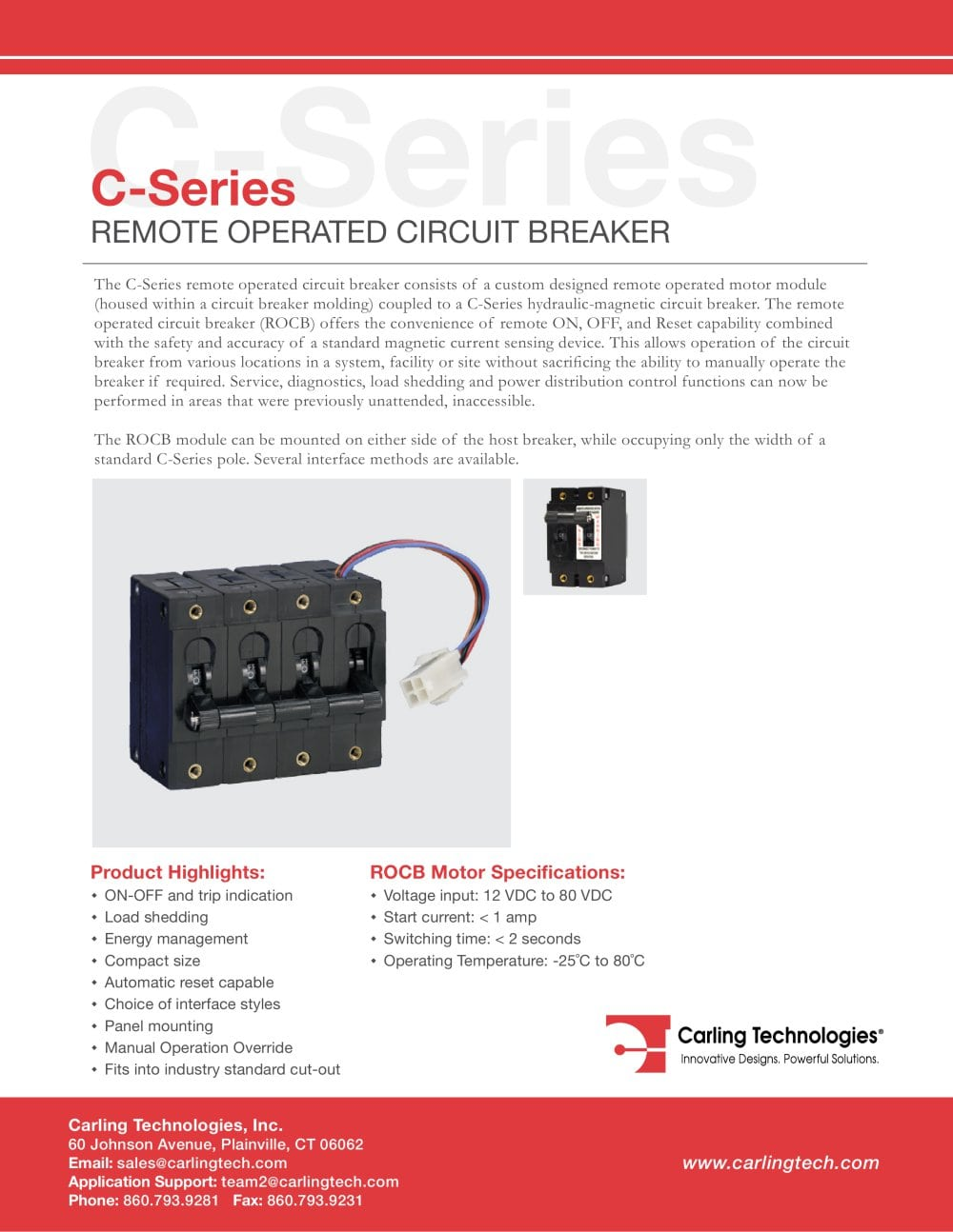 C Series Remote Operated Circuit Breaker Carling Technologies Wiring Motor 1 8 Pages