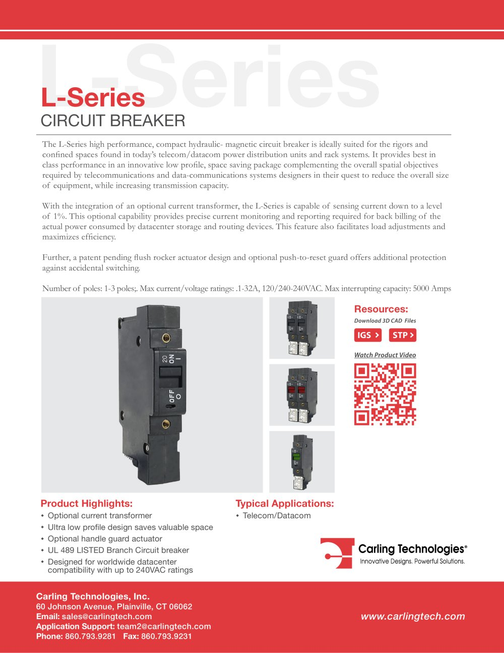 L Series Circuit Breaker Carling Technologies Pdf Catalogue Current And Voltage In A 1 8 Pages