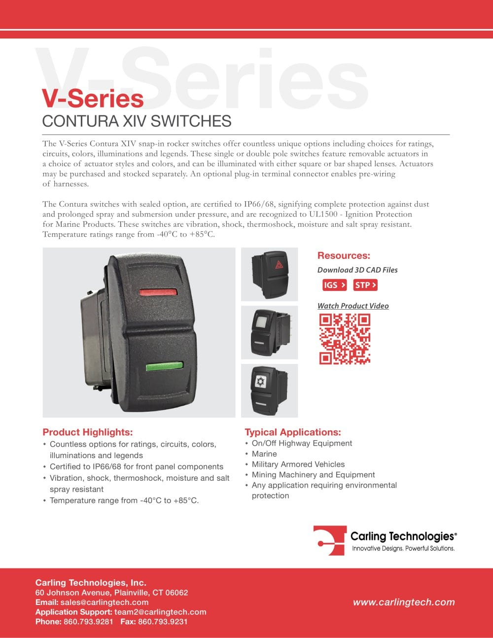 V Series Contura Xiv Carling Technologies Pdf Catalogue Switch Wiring As Well 3 Wire Toggle Diagram On 1 14 Pages