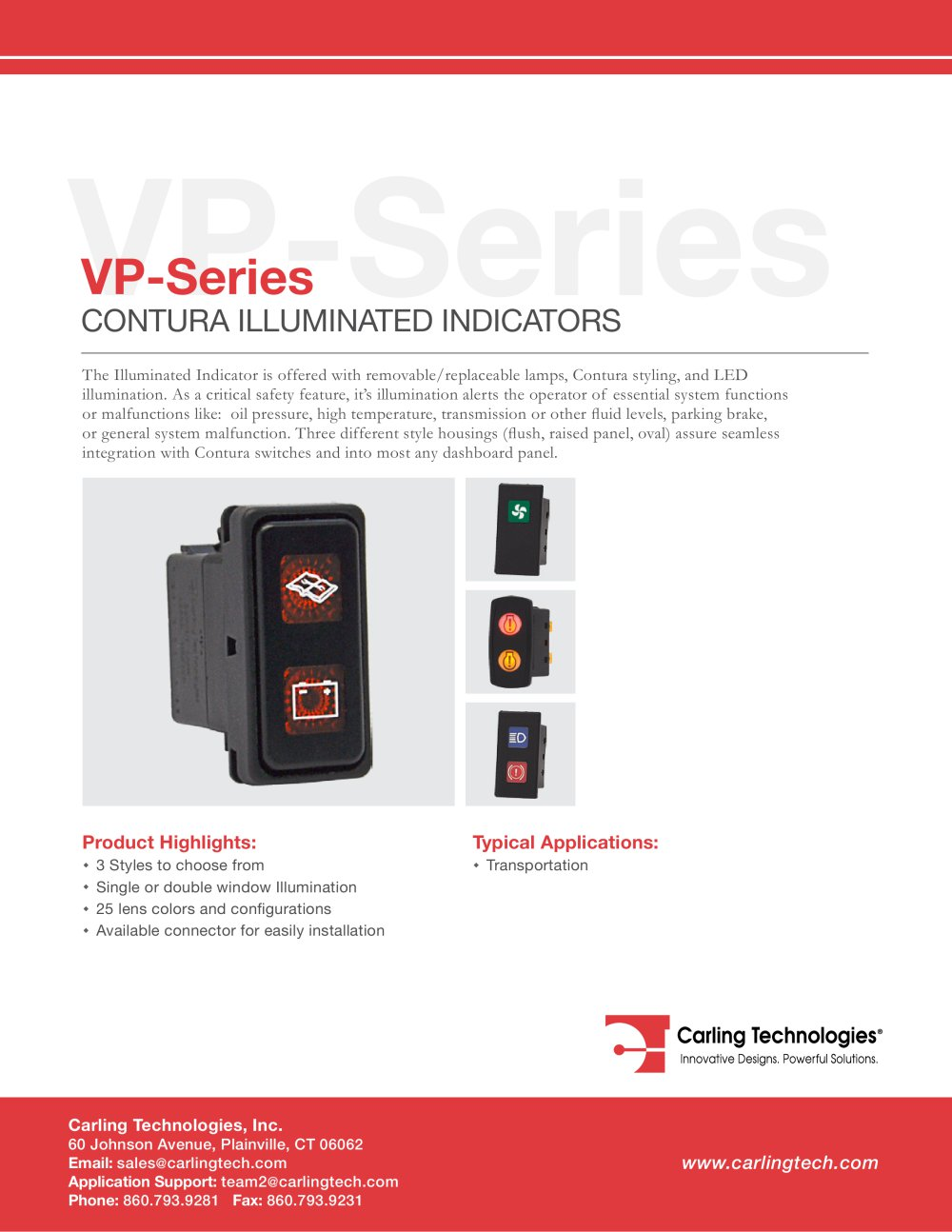 Vp Series Carling Technologies Pdf Catalogue Technical Lighted Switch Wiring Diagram 1 6 Pages