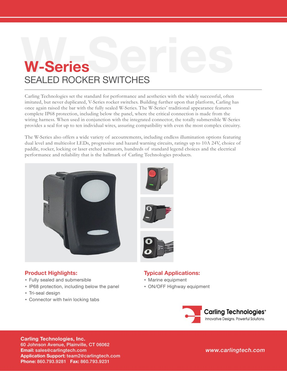 W Series Carling Technologies Pdf Catalogue Technical Wiring Diagram 1 10 Pages