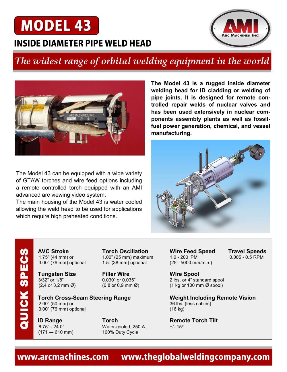 Model 43 - Inside Diameter Pipe Weld Head - Arc Machines, Inc. - PDF ...