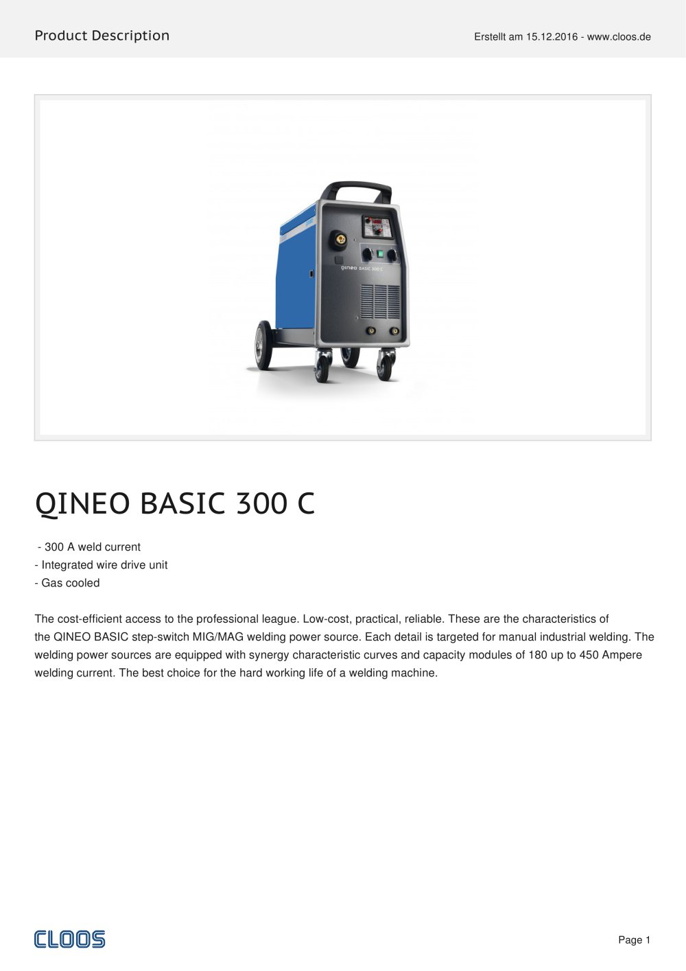 ... Array - qineo basic 300 c cloos pdf catalogue technical documentation  rh pdf directindustry com