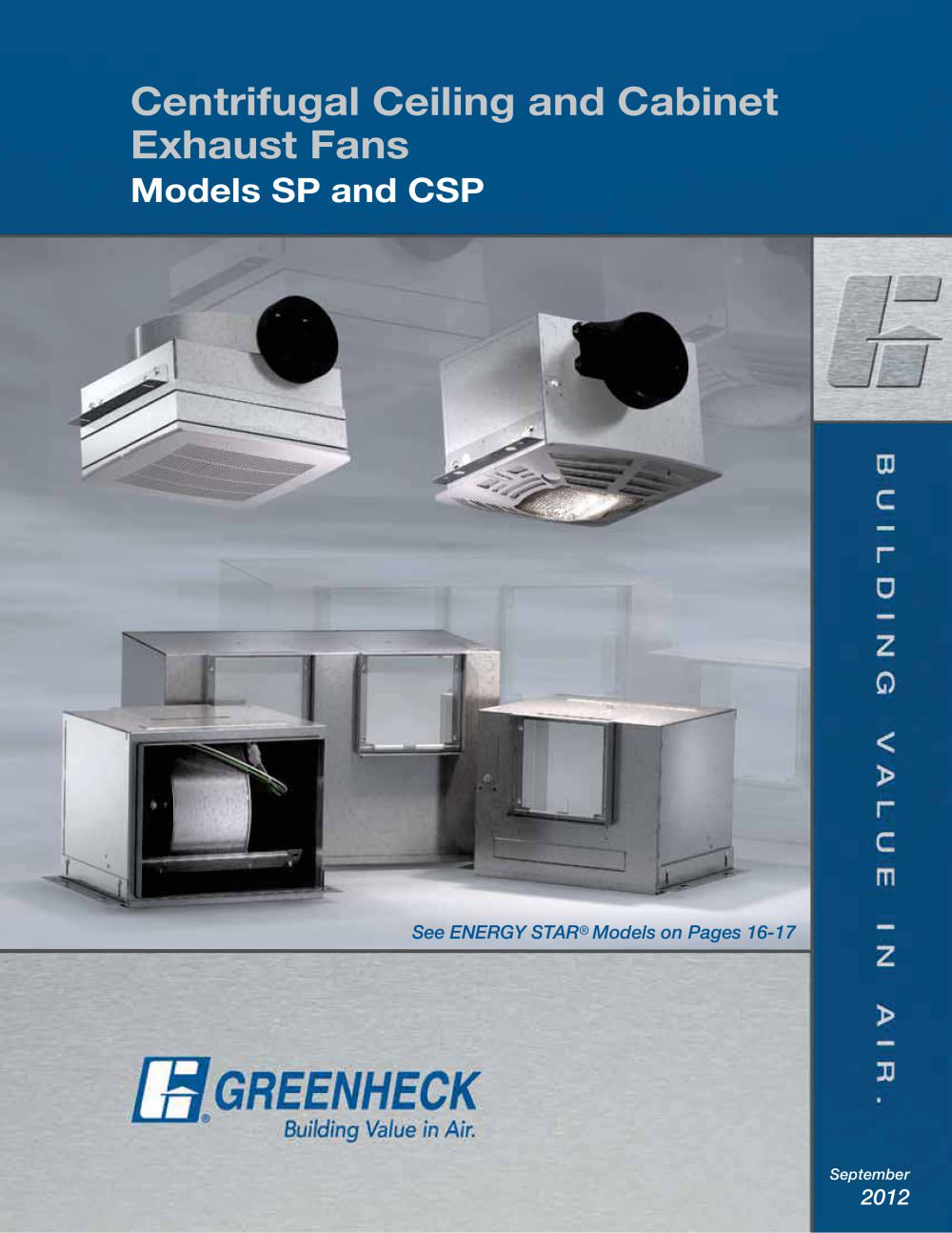 Ceiling Exhaust and Inline Cabinet Fans Greenheck PDF Catalogue