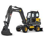 miniescavadeira / com rodas / para construção civil / a diesel