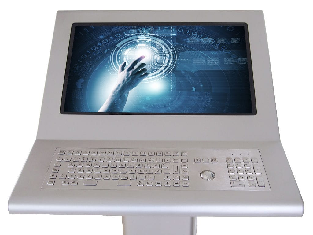 Multitouch screen operator terminal / with keyboard / floor-standing