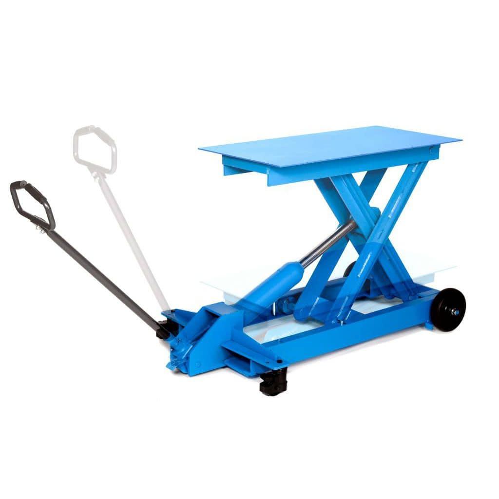 Scissor lift table / manual / mobile / low-profile