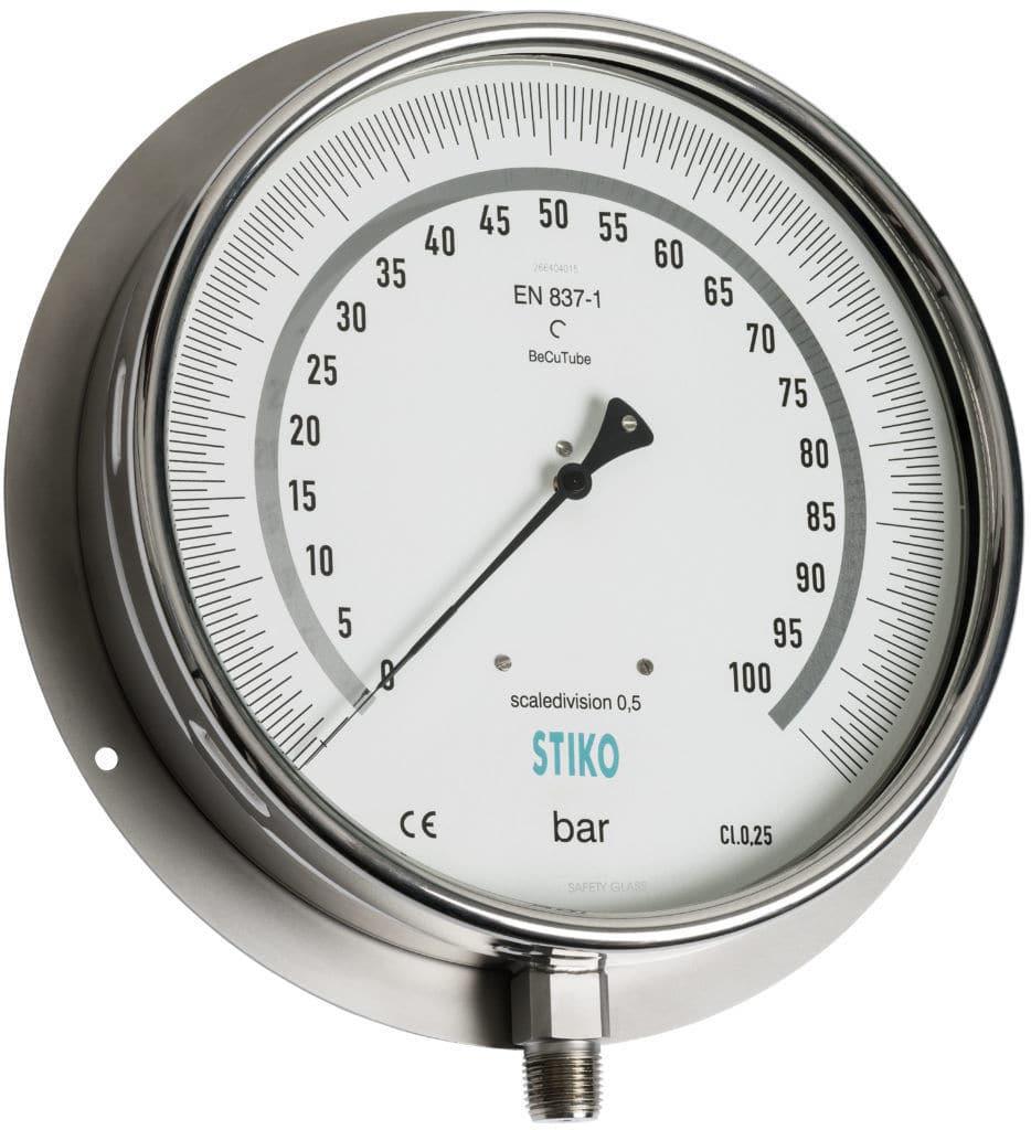 Analog pressure gauge / Bourdon tube / test / stainless