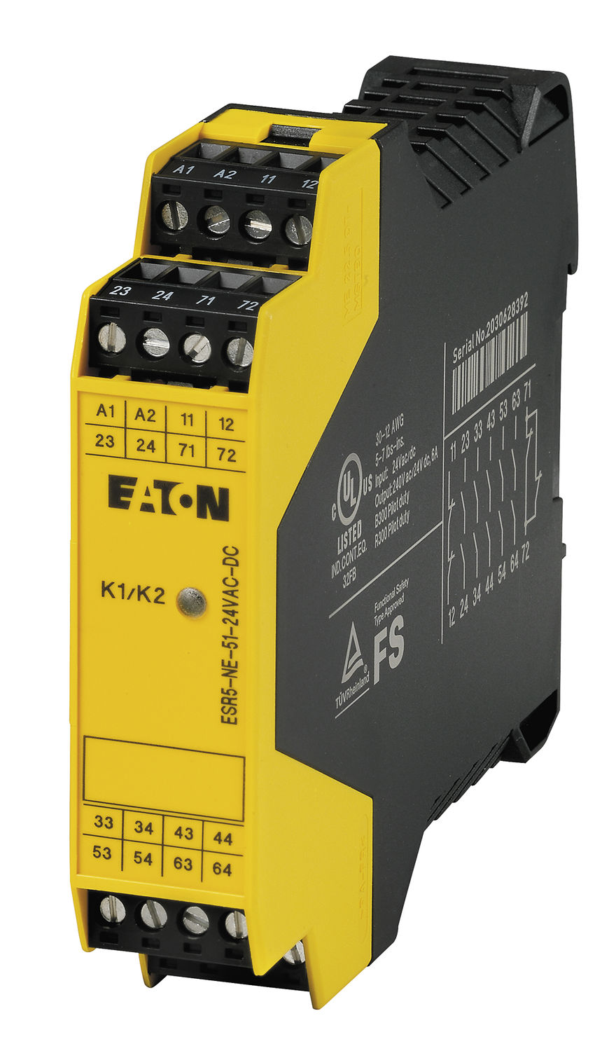Safety relay / DIN rail / emergency stop / for light curtain