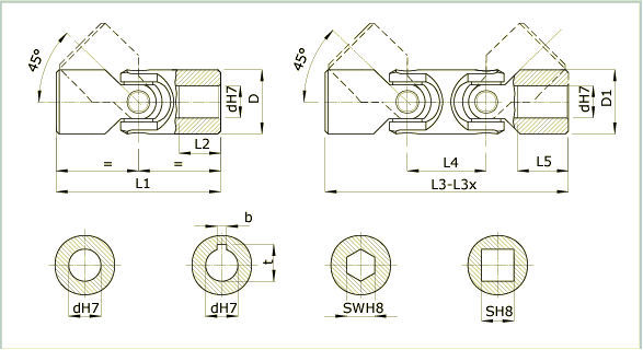 Double universal joint / single / precision - V series