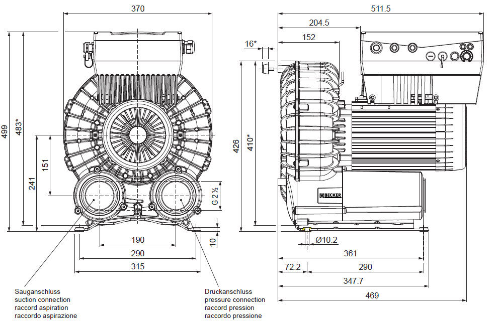 Rotary vane vacuum pump / lubricated / single-stage