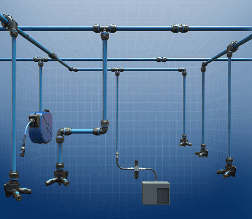 Aluminum piping system / for compressed air - Prevost Piping