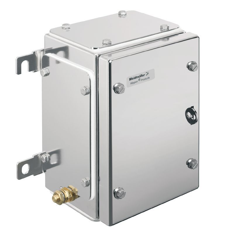 Wall-mount enclosure / rectangular / stainless steel / with