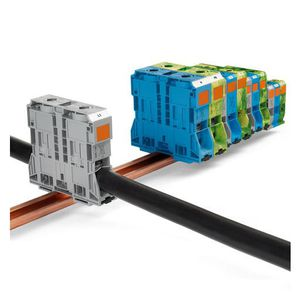 high-current terminal block / spring / screwless / DIN rail-mounted
