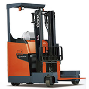 electric reach truck / ride-on / for warehouses / narrow-aisle