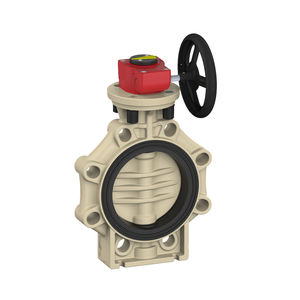 butterfly valve / with handwheel / flange / PP