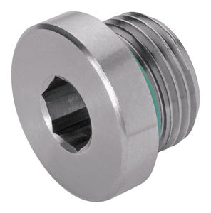 round plug / with hexagonal head / threaded / stainless steel