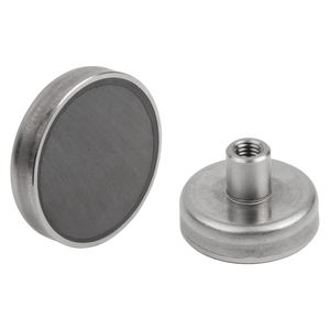 ferrite magnet / flat pot holding / coated / with internal thread
