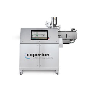 pelletizing screw extruder / for hot-melt / co-rotating twin-screw / compact