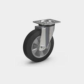 swivel caster / base plate / ball bearing / pressed steel