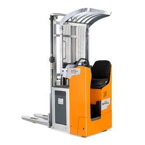high-lift stacker truck / electric / side-facing seated / narrow-aisle