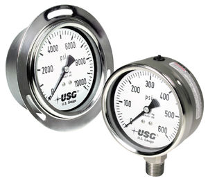 dial pressure gauge / liquid-filled Bourdon tube / process / for marine applications