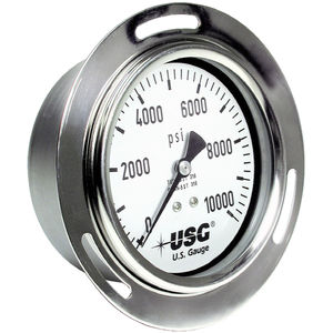 analog pressure gauge / liquid-filled Bourdon tube / process / for the food industry