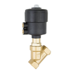 angle seat valve / pneumatically-operated / regulating / threaded