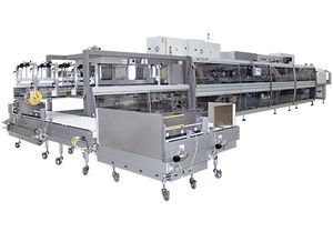 wrap-around tray packer sleeve wrapping machine