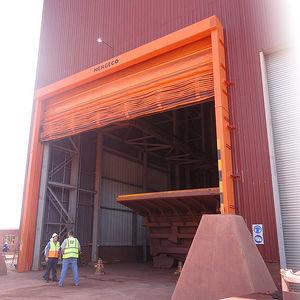 fold-up doors / exterior / for overhead cranes / high-speed