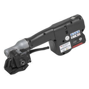 battery-powered strap tensioner / for steel straps / semi-automatic