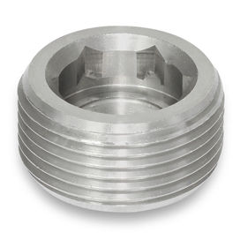 blanking plug / round / threaded / stainless steel