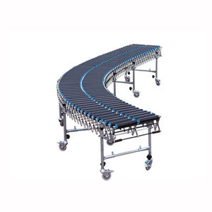 curved conveyor / roller / for packaging lines / extendable