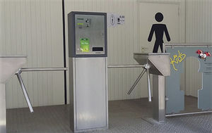 tripod turnstile / half-height / with built-in payment system