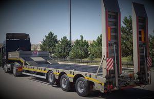 3-axle semi-trailer / platform / hydraulic / low-loader