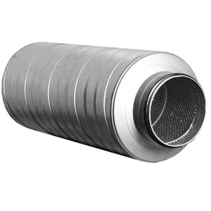ventilation silencer / for circular ducts / aluminum / stainless steel