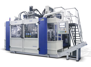 extrusion blow molding machine / for plastic bottles / for containers / twin-station