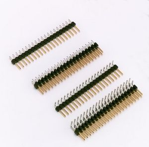 male pin header / double-row / with gold contacts / straight