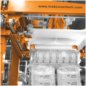 stretch film hood machine / fully-automatic / for building materials / bag