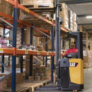 electric stacker truck / ride-on / transport / for warehouses