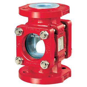 check-valve sight glass / borosilicate glass / flange / PFA-lined