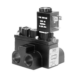 pilot-operated pneumatic directional control valve / solenoid-operated / 4-way / compact