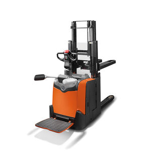 stacker truck with platform / electric / stand-on / transport