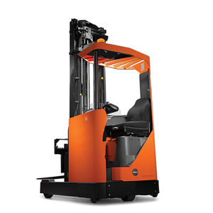 electric reach truck / side-facing seated / narrow-aisle / for warehouses