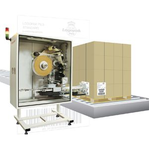 automatic labeler / for self-adhesive labels / pallet / for the pharmaceutical industry