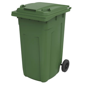 plastic waste container / for urban waste / with lid / 2-wheel