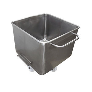 stainless steel crate / with lid / on casters