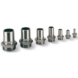 barbed fitting / straight / for vacuum / brass