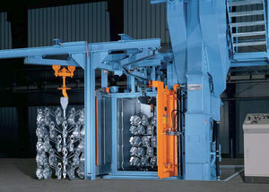 suspended load shot blasting machine / for metal / compact / 2-wheel